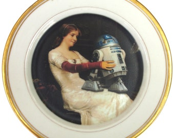 R2-D2 Renaissance Portrait Plate  - Altered Antique Plate 7.25""