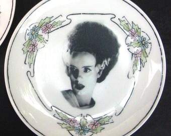 """Frankenstein and Bride - Altered Vintage Plate Set 6.15"""""""