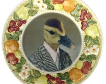 "Howard the Duck School Portrait - Altered Retro plate 7.6"""