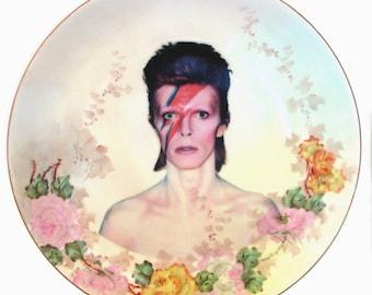 "David Bowie Portrait Plate - Altered Vintage Plate 10"""