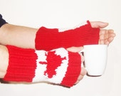 Knit Canadian Flag Fingerless Gloves Winter Accessories for Mens Gift Canada gift for boss