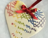 Ceramic wedding congratulations heart reserved for Louise
