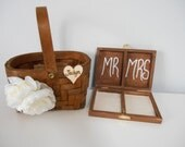 Ring Bearer Pillow and Flower Girl Basket Set, Ring Bearer Box, Ring Holder, Personalized and Custom Made To Order