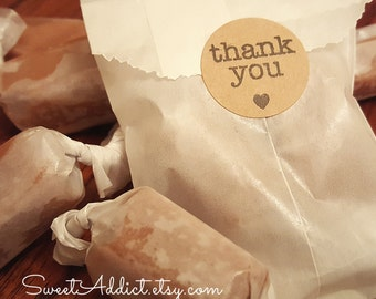 Edible Thank You Caramel Favors - White Bags with Kraft Tags - Great for WEDDINGS, BRIDAL Showers, BABY Showers, Birthdays, Parties, Gifts