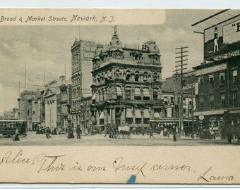 Broad and Market Streets Newark New Jersey 1905 postcard