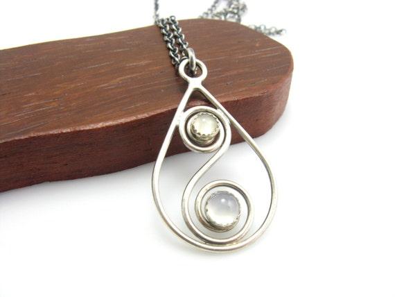 Sterling silver cat 39 s eye moonstone chalcedony teardrop for Cat s eye moonstone jewelry