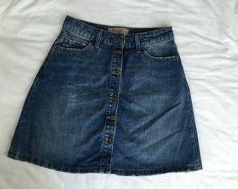 70's Style Button up Denim Skirt Size XS