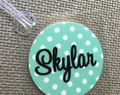 Polka Dot Bag Tag Initial Luggage Tag Polka Dot Luggage Tag Personalized Bag Tag Circle Bag Tag