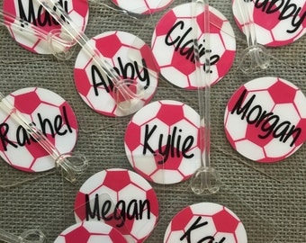 Soccer Team Bag Tags Soccer Gifts Personalized Softball Tags Volleyball Bag Tags Tennis Bag Tags Soccer Bag Tags Team orders of 8-14 tag
