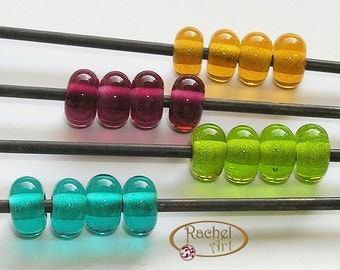 Lampwork Glass Donuts Beads, FREE SHIPPING, Amber, Purple, Teal , Green, Glass Spacers Beads - Rachelcartglass