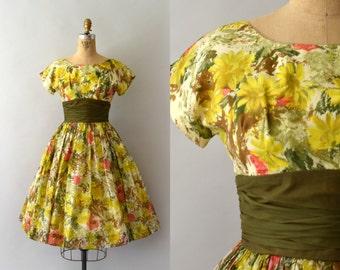 1950s Vintage Dress - 50s Daisy Print Floral Chiffon Dress
