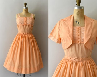 1950s Vintage Dress Set - 50s Apricot Embroidered Cotton Sundress & Bolero