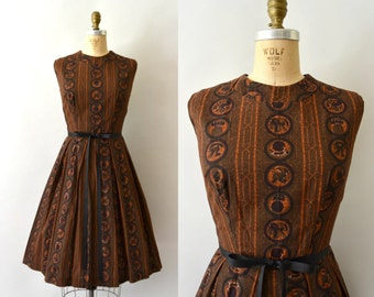 1950s Vintage Dress - 50s Orange and Black Printed Cotton Day Dress