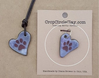 I love my CAT DOG Print PAW ceramic pendant Dog Cat Pet Lover Gift Lilac Plum Purple Brown Rustic Earthy Boho pendant Dog Lover