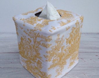 Yellow toile reversible tissue box cover