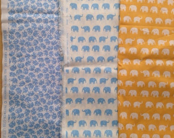 Daiwabo elephant fabric and Michael miller elephant fabric