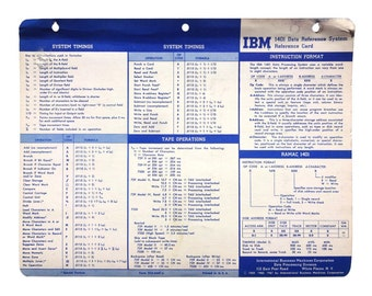 Paul Rand (attributed) design, 1959-61. IBM 1401 Data Reference System: Reference Card