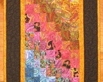 Art Quilt, Paisley Passion Quilted Fabric Wallhanging, Blue Green Gold Red, Vertical Hanging, Abstract Art Tablerunner, Quiltsy Handmade