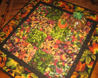 Fall Autumn Leaves Quilted Table Topper, Fall Table Square Decor, Green Orange Red Leaves, Wall Hanging, Round Table Topper, Handmade