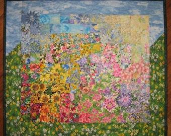 Blue Skies Sunshine Garden Wallhanging, Art Quilt, Fabric Wallhanging, Quilted Wall Hanging, Shabby Chic Floral Quilt, Sun Moon Quilt