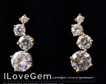 NP-845 Nickel free Gold plated, Multi Cubic zirconia earring, 925 sterling silver post, 2pcs
