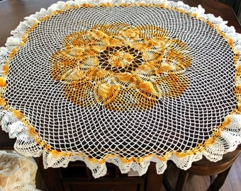 Large Crocheted Centerpiece, Table Topper in Pineapple Pattern, Orange and White Crochet 13469