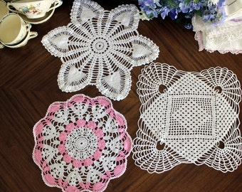 3 Assorted Crochet Doilies - Vintage Handmade Doily, Whites and Pink Lot, Multiple Doilies 13536