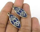 2 pieces  - Tibetan silver drop shape charm pendants with lapis inlay - PM508A