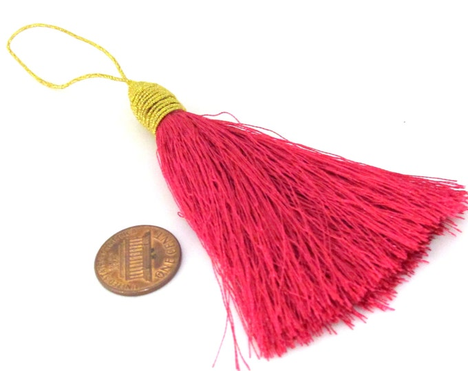 1 Piece  - Long fuschia pink color silky tassel charm with golden cord twine - tassle fringe craft supply - TS006