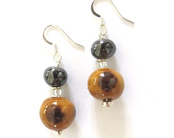 Kazuri Earrings, Brown and Antique Gold Coloured Earrings