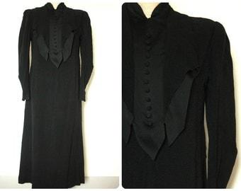 Black Crepe Antique Dress Goth 1900's