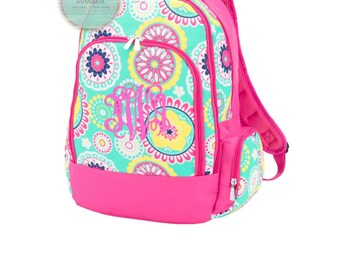 Girls Monogrammed Hot Pink and Mint Flower Backpack Free Personalization