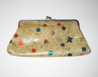 Vintage 1950s Plastic Clutch Purse With Gold Confetti & Colorful Design