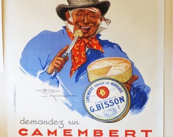 Large Vintage Camembert Cheese Poster