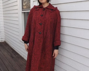 Vintage 40s Coat Winter Red Boucle Long Moll Rose L XL