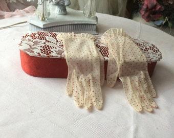 Stunning  Nylon Sheer Polka Dot Gloves