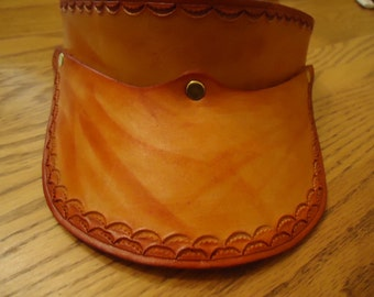 Hand Tooled and Dyed adjustable Leather Adult Visor Brown with Tiny Shells