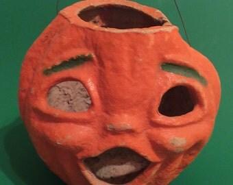 Large Vintage 2 faced Paper Mache Pumpkin