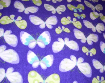 "Fleece Fabric - Butterflies on Orchid  - 59"" wide - sold by the yard"