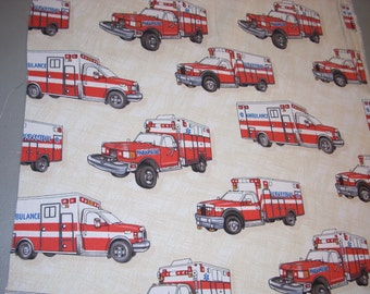Ambulance and Paramedic on off white -  Cotton Fabric - 16 inches wide - sold by the yard