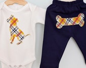 Pit bull baby one-piece and pant set in gold and navy plaid - Size 0-3 mos