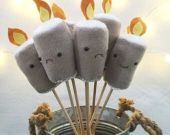 Plush Flaming Marshmallows Pretend Camping Soft Toy