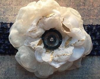 Flower Headband with Vintage Rhinestone Button - Cream Singed Flower Headband - Flower Hair Accessory - Wedding Flower - Prom Flower
