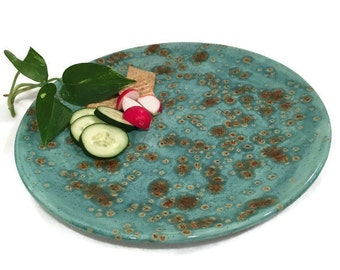 Hand Painted Ceramic Platter in Teal Blue and Copper Brown