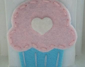4 Handmade Felt Felties Cupcake Appliques Cotton Candy