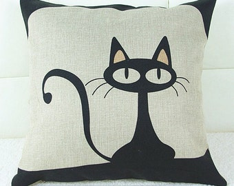Kitty Cat Printed Square Pillow Case