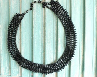 Black Bead Egyptian Style Collar Necklace