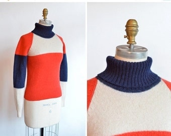 50% OFF SALE / 1970s retro WOOL ski sweater