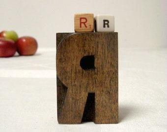 Letterpress R Vintage Wood Type Freestanding Printer Block Letter R