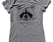 Raccoon WOMENS T-Shirt  -  Available in sizes S M L XL and four shirt colors  -  cute animals